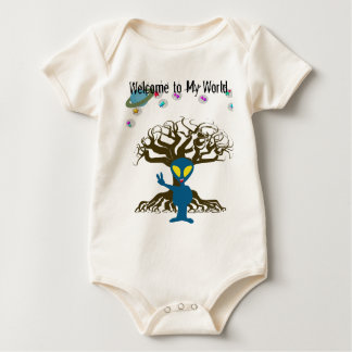 Welcome to my World Blue Alien Peace Sign Baby Bodysuit