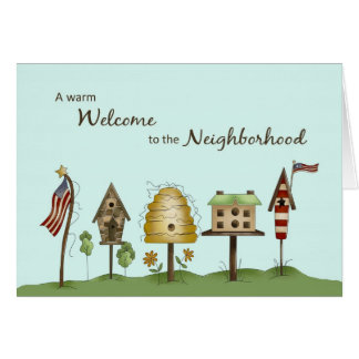 Welcome to Neighborhood Birdhouses & Flags Card