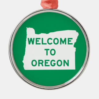 Welcome to Oregon - USA Road Sign Silver-Colored Round Ornament