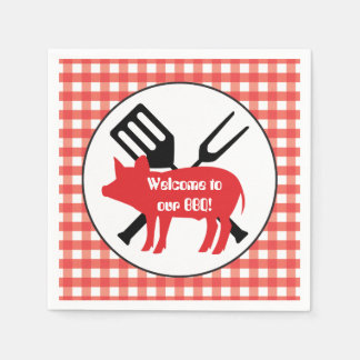 Welcome to our BBQ Pig party paper napkins