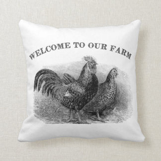 Welcome to our Farm Chicken Rooster Vintage pillow