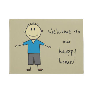 Welcome to our happy home Cute Smiley Stick Figure Doormat