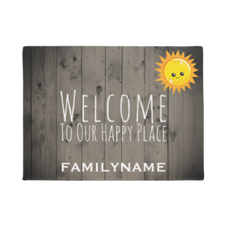 Welcome to Our Happy Place Rustic Wood Family Doormat