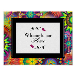 Welcome To Our Home Art Deco Pattern Poster