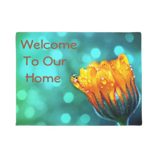 Welcome To Our Home, Golden Marigold on Teal Doormat