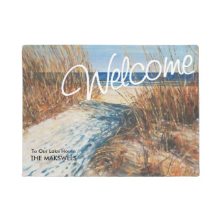 Welcome To Our Lake House  Beach Sand Dunes Doormat