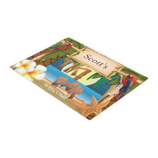 Welcome to Our Tiki Bar Doormat  | Zazzle