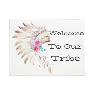 Welcome To Our Tribe, Watercolor Indian Headdress Doormat