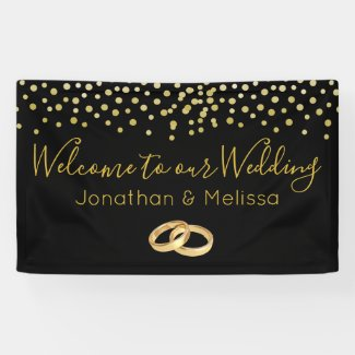 Welcome to our Wedding Faux Gold Confetti Banner