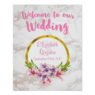 Welcome To Our Wedding Floral and Marble Poster