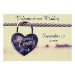 Welcome to our Wedding Heart Padlock Poster