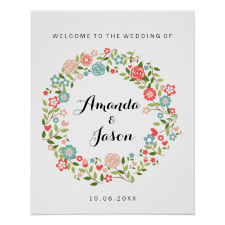 Welcome to our wedding sign | Floral | bothanical Poster