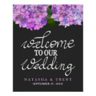 Welcome To Our Wedding Typography Hydrangea Floral Poster