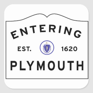 Welcome to Plymouth MA town Square Sticker