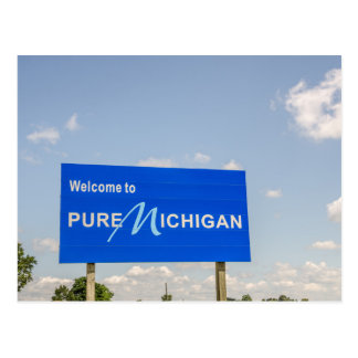 Welcome to Pure Michigan Blue Sign Postcard