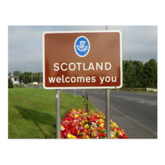 Welcome to Scotland - Anglo-Scottish Border Sign Postcard