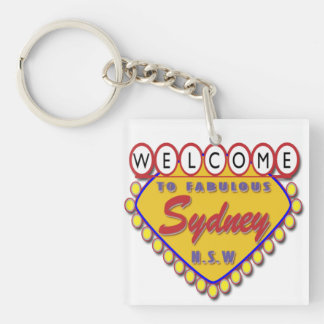 Welcome to Sydney Single-Sided Square Acrylic Keychain