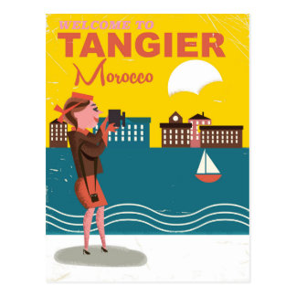Welcome to Tangier Morocco vintage travel poster Postcard