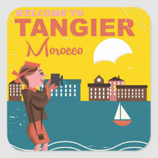 Welcome to Tangier Morocco vintage travel poster Square Sticker