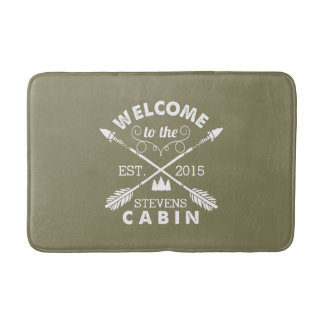 Welcome to the Cabin | Rustic Arrows Personalized Bath Mat