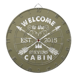 Welcome to the Cabin   Rustic Arrows Personalized Dartboard
