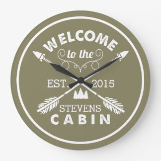Welcome to the Cabin | Rustic Arrows & Pine Tree Clocks