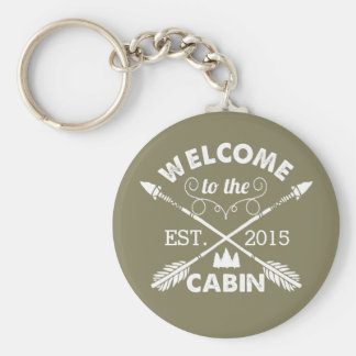 Welcome to the Cabin | Rustic Olive & White Basic Round Button Keychain