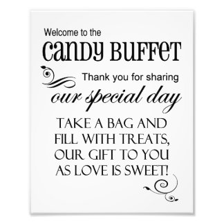 Welcome to the Candy Buffet Wedding Sign 8 x 10