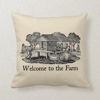 Welcome to the Farm Vintage Farmhouse Throw Pillow