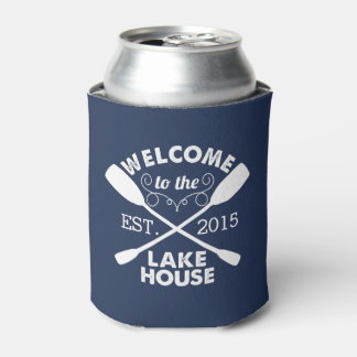 Welcome to the Lake House | Navy & White Can Cooler