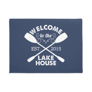 Welcome to the Lake House   Navy & White Paddles Doormat