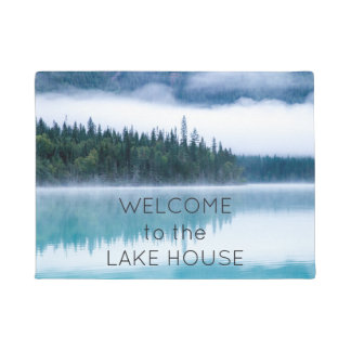 Welcome to the Lake House Reflection Nature Photo Doormat