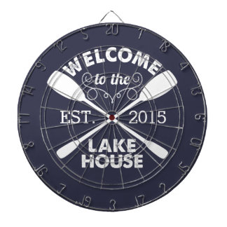 Welcome to the Lake House   Rustic Canoe Paddles Dartboard