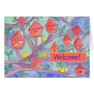 Welcome to the Neighborhood Red Bird House Greeting Card
