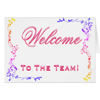 Welcome To The Team Swirl Floral Black & White Card