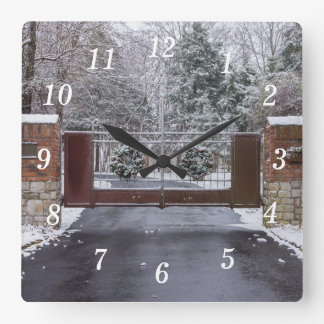 Welcome To Winter Square Wall Clock