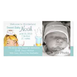 Welcome to Wonderland Birth Announcement Picture Card