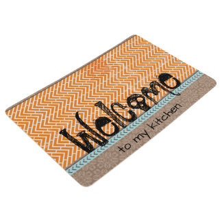 Welcome Tribal Orange Chevron Kitchen Floor Mat