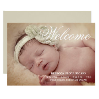 Welcome Typography Scroll New Baby Personalized Card