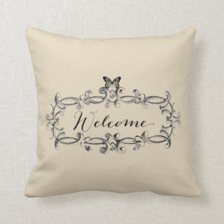 Welcome Vintage Style Throw Pillow With Butterfly