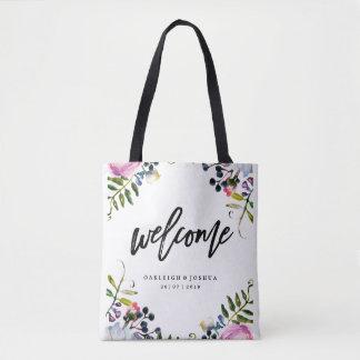 Welcome Watercolor Pretty Purple Wedding Tote Bag