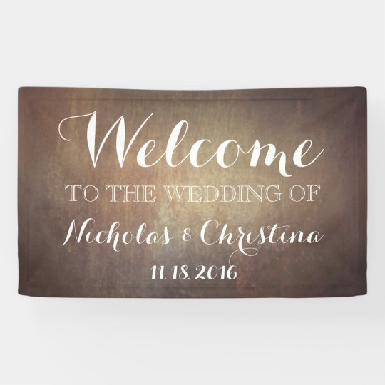 Welcome Wedding Banner Rustic Gold