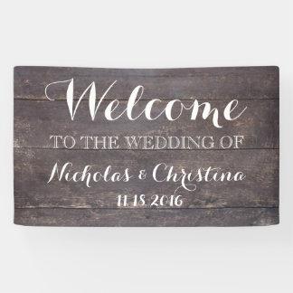 Welcome Wedding Banner Rustic Vintage Wood