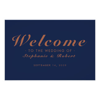 Welcome Wedding Navy Blue Copper Horizontal Poster