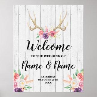 Welcome Wedding Poster Antler Sign Floral Poster