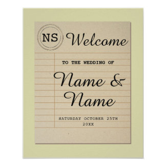 Welcome Wedding Poster Library Sign Author Poster