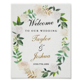 Welcome Wedding Sign Blush Gold Watercolor Poster
