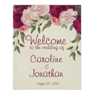 Welcome wedding sign burgundy pink floral poster