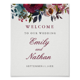 Welcome Wedding Sign Burgundy Watercolor Floral