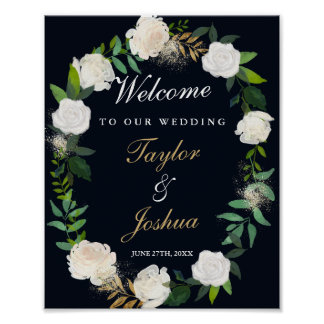 Welcome Wedding Sign Navy Floral Wreath